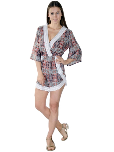 3000N-SP32747-32753- Multicolor V-neck Lace & Embellished Casual Romper Playsuit/1-2-2-1