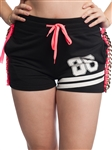3010N-SC01-Black-active shorts w/ chain, drawstring & Embossed print / 1-2-2-1