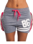 3010N-SC01-Grey-active shorts w/ chain, drawstring & Embossed print / 1-2-2-1