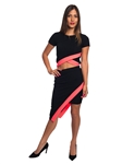 3010N-SS410-Black/Coral- 2Pcs Bodycon Crop Top & Mini Skirt Set Outfit Dress/ 1-2-2-1