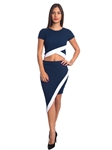 3010N-SS410-Navy/White- 2Pcs Bodycon Crop Top & Mini Skirt Set Outfit Dress/ 1-2-2-1