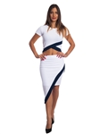 3010N-SS410-White/Navy- 2Pcs Bodycon Crop Top & Mini Skirt Set Outfit Dress/ 1-2-2-1
