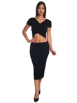 3010N-SS413-Black- 2Pcs Bodycon Crop Top & Mini Skirt Set Outfit Dress/ 1-2-2-1