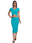 3010N-SS413-Jade- 2Pcs Bodycon Crop Top & Mini Skirt Set Outfit Dress/ 1-2-2-1
