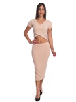 3010N-SS413-Khaki- 2Pcs Bodycon Crop Top & Mini Skirt Set Outfit Dress/ 1-2-2-1