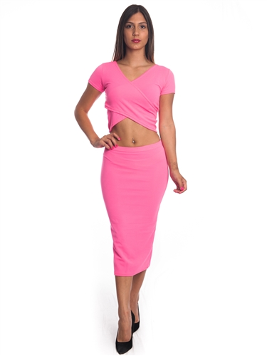 3010N-SS413-Neon Fuchsia- 2Pcs Bodycon Crop Top & Mini Skirt Set Outfit Dress/ 1-2-2-1