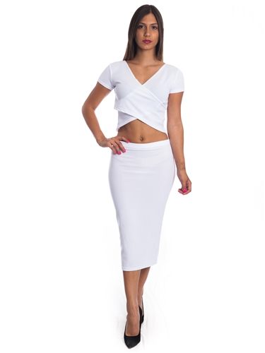 3010N-SS413-White- 2Pcs Bodycon Crop Top & Mini Skirt Set Outfit Dress/ 1-2-2-1