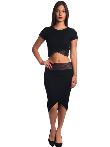 3010N-SS414-Black- 2Pcs Bodycon Crop Top & Mini Skirt Set Outfit Dress/ 1-2-2-1