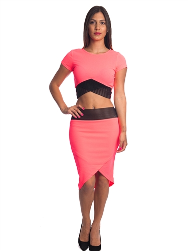 3010N-SS414-Coral- 2 Pcs Bodycon Crop Top & Mini Skirt Set Outfit Dress/ 1-2-2-1