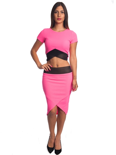3010N-SS414-Fuchsia- 2 Pcs Bodycon Crop Top & Mini Skirt Set Outfit Dress/ 1-2-2-1