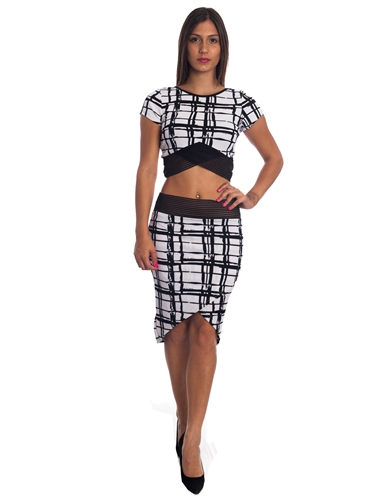 3010N-SS415-All Over Printed- 2Pcs Bodycon Crop Top & Mini Skirt Set Outfit Dress/ 1-2-2-1