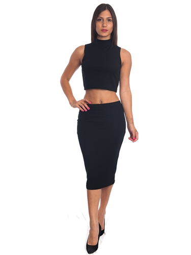 3010N-SS417-Black- 2Pcs Bodycon Crop Top & Mini Skirt Set Outfit Dress/ 1-2-2-1