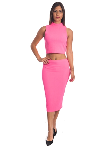 3010N-SS417-Fuchsia- 2Pcs Bodycon Crop Top & Mini Skirt Set Outfit Dress/ 1-2-2-1