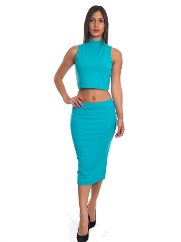 3010N-SS417-Jade- 2Pcs Bodycon Crop Top & Mini Skirt Set Outfit Dress/ 1-2-2-1