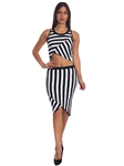 3010N-SS419-Black/White- 2Pcs Bodycon Crop Top & Mini Skirt Set Outfit Dress/ 1-2-2-1