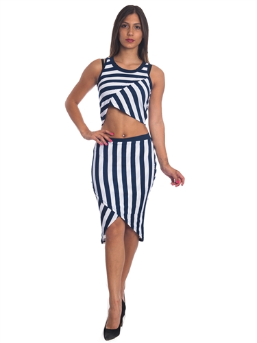 3010N-SS419-Navy/White- 2Pcs Bodycon Crop Top & Mini Skirt Set Outfit Dress/ 1-2-2-1
