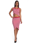 3010N-SS419-Red/White- 2Pcs Bodycon Crop Top & Mini Skirt Set Outfit Dress/ 1-2-2-1