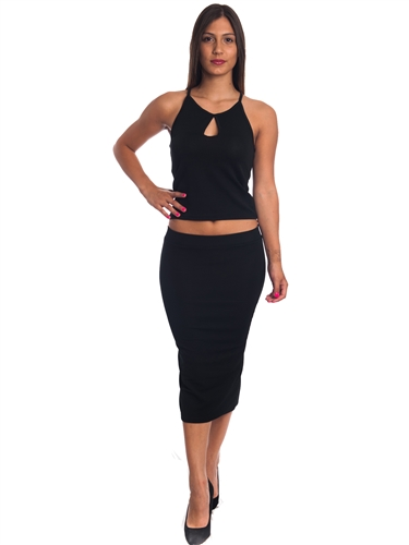 3010N-SS420-Black- 2Pcs Bodycon Crop Top & Mini Skirt Set Outfit Dress/ 1-2-2-1