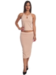 3010N-SS420-Khaki- 2Pcs Bodycon Crop Top & Mini Skirt Set Outfit Dress/ 1-2-2-1