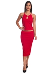 3010N-SS420-Red- 2Pcs Bodycon Crop Top & Mini Skirt Set Outfit Dress/ 1-2-2-1