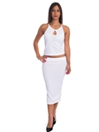 3010N-SS420-White- 2Pcs Bodycon Crop Top & Mini Skirt Set Outfit Dress/ 1-2-2-1
