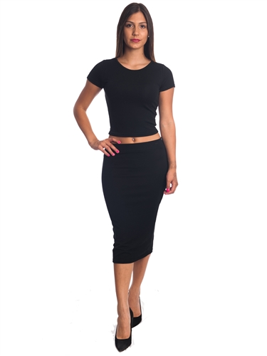 3010N-SS421-Black- 2Pcs Bodycon Crop Top & Mini Skirt Set Outfit Dress/ 1-2-2-1