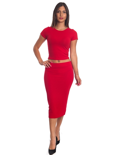 3010N-SS421-Red- 2Pcs Bodycon Crop Top & Mini Skirt Set Outfit Dress/ 1-2-2-1