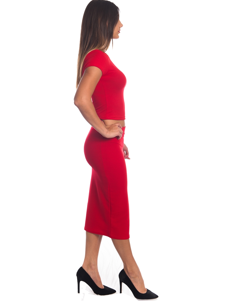a281dab989 3010N-SS421-Red- 2Pcs Bodycon Crop Top & Mini Skirt Set Outfit Dress/  1-2-2-1