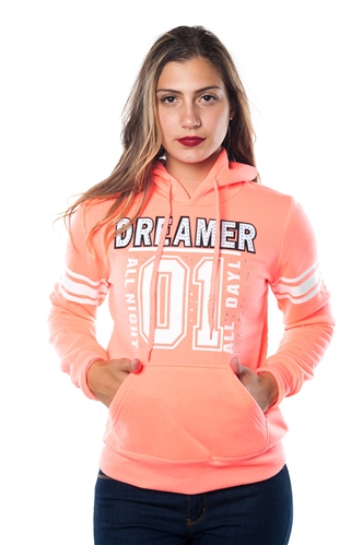 3038N-FH-157X-Coral-Plus Size Fleece Double Hood Sweatshirt/ 2-2-2