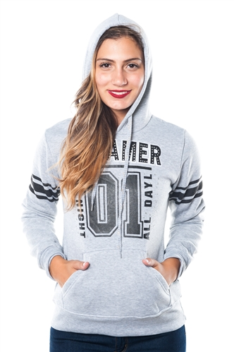3038N-FH-157X-Grey-Plus Size Fleece Double Hood Sweatshirt/ 2-2-2