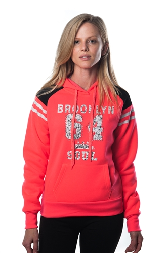 3038N-FHB-1143-Coral-Ladies Fleece Double Hood Sweatshirt/ 1-2-2-1