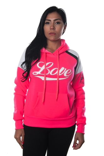 3038N-FHB-1144-Fuchsia-Ladies Fleece Double Hood Sweatshirt/ 1-2-2-1