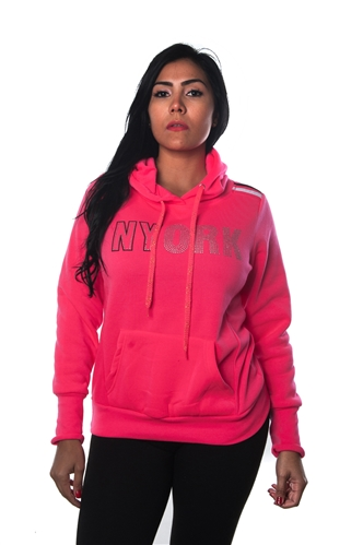 3038N-FHR-301-Fuchsia-Ladies Fleece Double Hood Sweatshirt/ 1-2-2-1