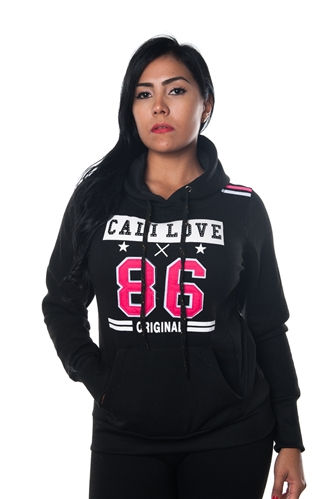 3038N-FHR-302-Black-Ladies Fleece Double Hood Sweatshirt/ 1-2-2-1