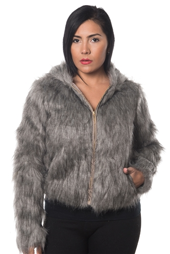 3038N-FV-1202-Grey-Faux Fur Hooded Jacket/ 1-2-2-1