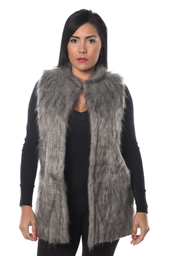 3038N-FV-2002-Grey- Faux Fur Vest / 1-2-2-1