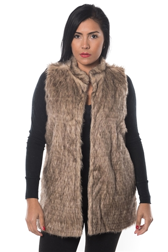 3038N-FV-2004-Brown- Faux Fur Vest / 1-2-2-1