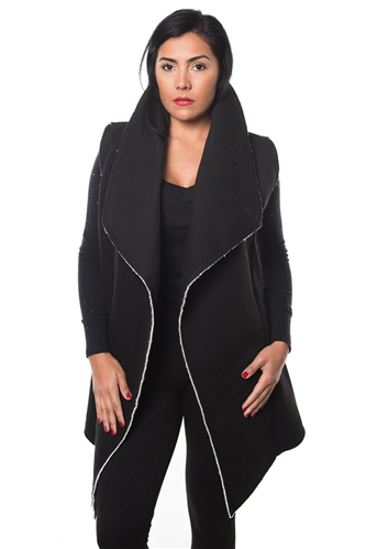 3038N-SOC52-Black Cardigan Vest / 1-2-2-1