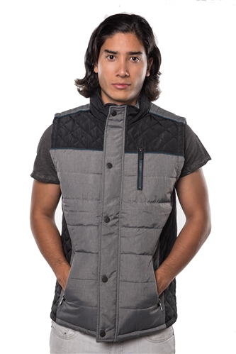 3040N-1GL0080-1-Black- Men's Quilted Fur LinedVest / 1-2-2-1