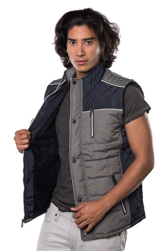 3040N-1GL0080-1-Navy- Men's Quilted Fur LinedVest / 1-2-2-1