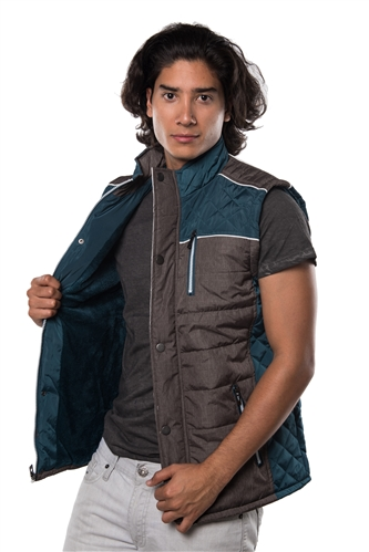3040N-1GL0080-1-Teal- Men's Quilted Fur LinedVest / 1-2-2-1