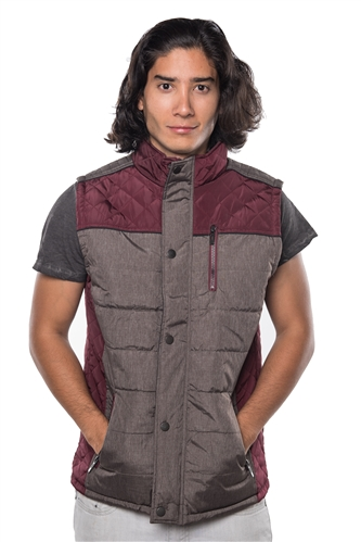 3040N-1GL0080-1-Wine- Men's Quilted Fur LinedVest / 1-2-2-1