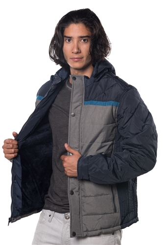 3040N-1TN0462-Navy Blue- Men's Quilted Fur LinedJacket / 1-2-2-1
