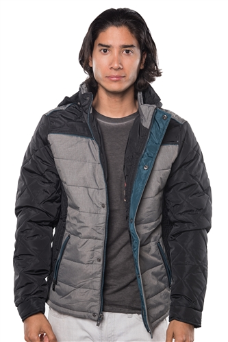 3040N-3JA3024-Black Teal- Men's Quilted Fur LinedJacket/ 1-2-2-1