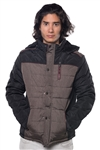 3040N-3JA3024-Black Wine- Men's Quilted Fur LinedJacket/ 1-2-2-1