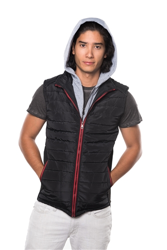 3040N-RR0057V-Black- Men's Quilted Fur LinedLayered Hoodie Vest / 1-2-2-1