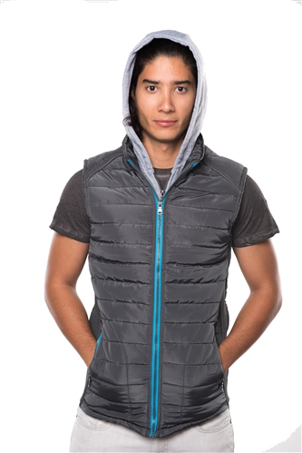 3040N-RR0057V-D Grey- Men's Quilted Fur LinedLayered Hoodie Vest / 1-2-2-1