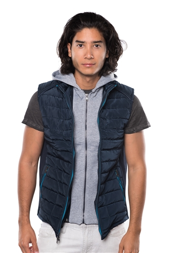 3040N-RR0057V-Navy- Men's Quilted Fur LinedLayered Hoodie Vest / 1-2-2-1