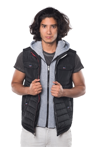 3040N-RR0058V-Black- Men's Quilted Fur LinedLayered Hoodie Vest/ 1-2-2-1