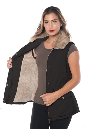 3040N-SPE0042V-Black- Peach SkinFaux Fur Lined Vest/ 1-2-2-1